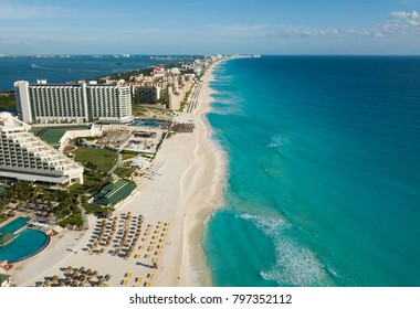 Cancun, Yucatan, Quintana Roo, Mexico, January 17, 2018: Zona hotelera aerial view. Cancun beach panorama Top view. Aerial drone view of Caribbean Sea beach.