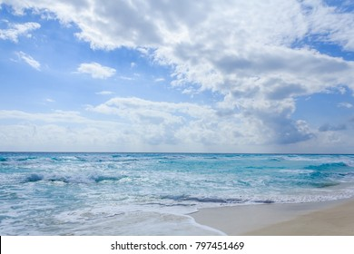 Cancun/Mexico - January 27 2013: The famous Cancun beach in a sunny day.
