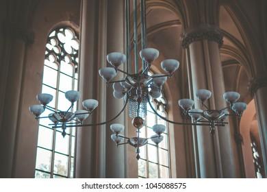 candelabrum in old church interior
