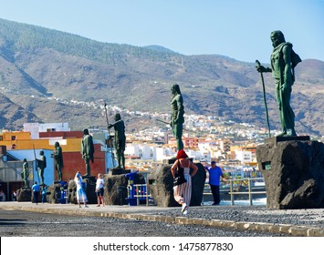 Candelaria, Spain 08/01/2019 a pilgrimage town on the Atlantic Ocean an overview. The nine larger than life jams of the most important Menceys, the Guanche kings. The Menceyes were made of bronze. The