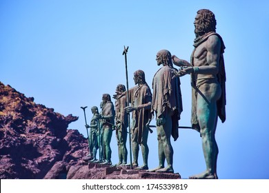 CANDELARIA, TENERIFE, CANARY, SPAIN - 15 MAY, 2018: Statues of the guanches are in the Plaza de la Patrona de Canarias. Candelaria is city in the eastern part of the island of Tenerife