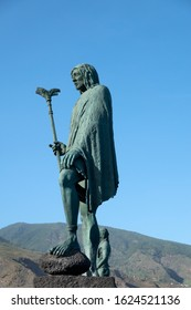 Candelaria, Tenerife, Spain - 27 December 2019, Statues of the kings Tegueste aboriginal Guanches menceyatos, Sculptor Jose Abad