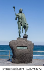 Candelaria,Spain,Europe-29/04/2018.Statue of an ancient Canary Islands native guanche on the waterfront