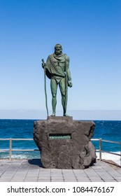 Candelaria,Spain,Europe-29/04/2018.Statue of an ancient Canary Islands native guanche on the waterfront in the city of Candelaria
