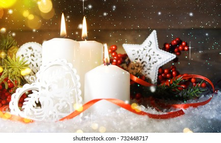 Candels With Christmas Decoration