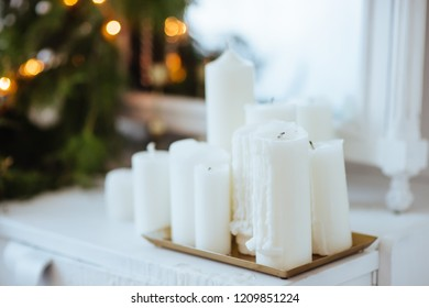 Candels With Christmas Decoration. New Year concept