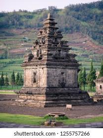 Candi Arjuna hindu temple, in Arjuna complex, Dieng Plateau, Central Java, Indonesia.