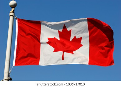 Candian Flag under the wind