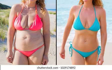 Candid photos of woman before and after successful diet