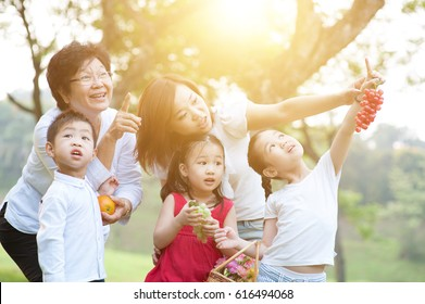 Candid portrait of beautiful multi generations Asian family at nature park. Grandmother, mother and grandchildren outdoor fun. Morning sun flare background.