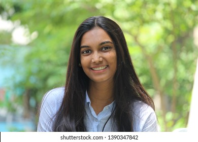 Candid portrait of a young Indian woman