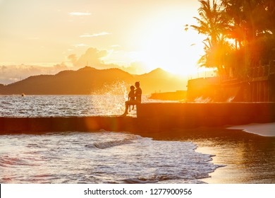 CANDIDASA BEACH, CANDIDASA, BALI - FEBRUARY 6, 2018: Sunset over