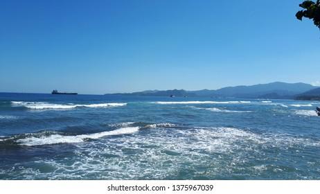 candidasa beach , karangasem bali 21 april 2019 some of ship was sailing in the ocean