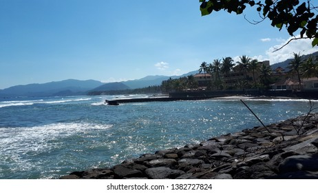 candidasa beach karangasem bali 21 april 2019 blue water of the in front the hotel