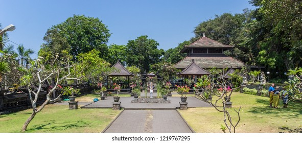 CANDIDASA, INDONESIA - OCTOBER 12, 2018: Panorama of the garden of the Pura Goa Lawah temple on Bali, Indonesia