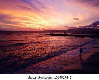 candidasa karangasem bali 27 december 2019 the sky is orange on the beach at sunset