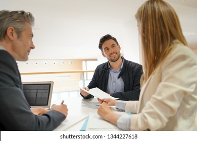 Candidate in corporate business interview