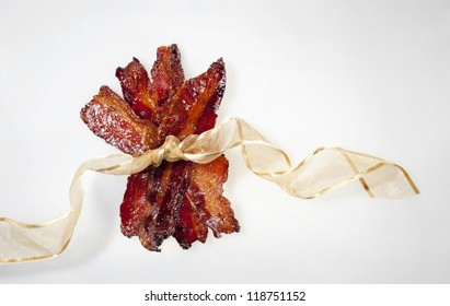 Candied Bacon Wrapped with a Ribbon