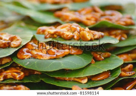 Candied Cashew Nuts on Leaves at a local market in Chaweng, Koh Samui, Thailand