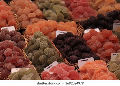 Candied fruit in various shapes, flavors and colors for sale on a Spanish market