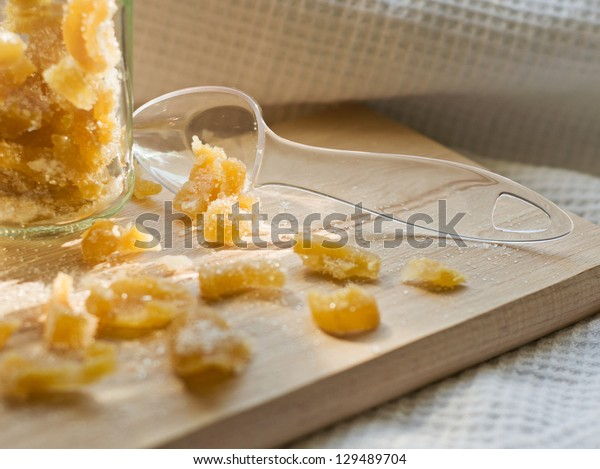 candied ginger in glass jar