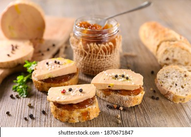 candied onion and toast with foie gras - Shutterstock ID 1870671847