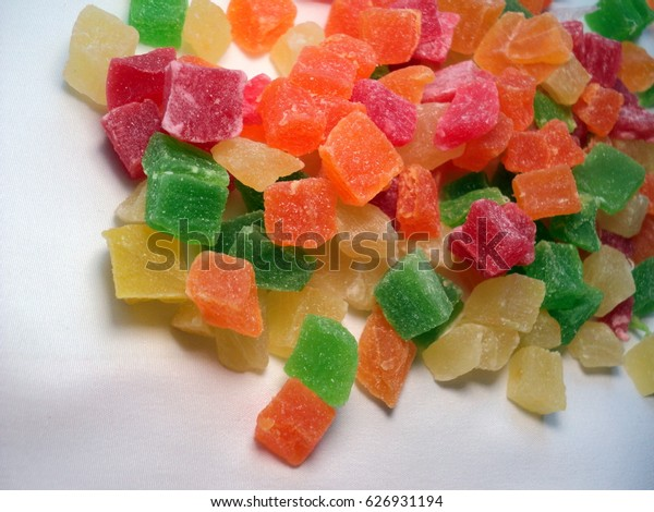 candied candied pineapple, diced, mixed colors