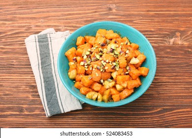 Candied Sweet Potatoes with pistachios