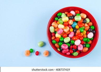 candies in a bowl on a table