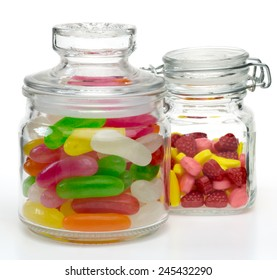 Candies and jelly beans in a jar