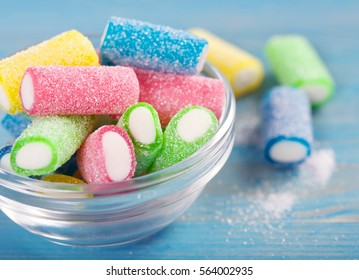 candies on a wooden background