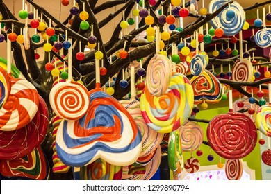 Candies shop. Multicolor sweets on the tree. Candylicious - Candy Store at The Dubai Mall