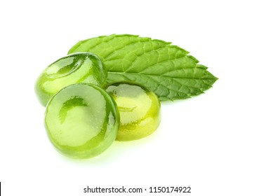 Candies for the throat with leaf mint isolated on a white background.