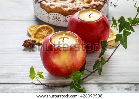 Candle in apple - beautiful table decoration