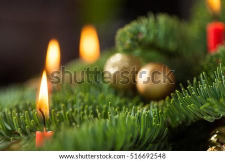 candle burning christmas tree