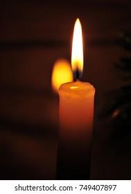 Candle burning Candle burning with reflection
