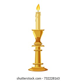 Candle in a candlestick icon. Cartoon illustration of candle  icon for web design