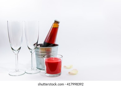 Candle, and champagne glass on white background, set of celebration Valentine concept