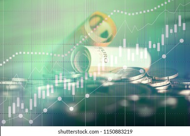 Candle chart on the financial markets, forex and the stock exchange. Growth and income concept. Business background in double exposure.