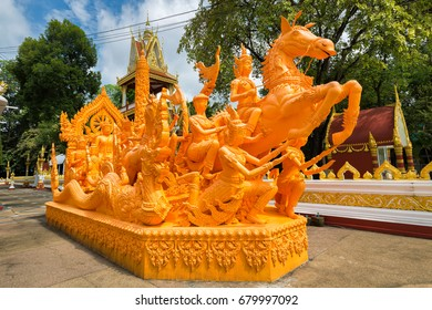 Candle Festival in The Buddhist Lent Day, Thailand