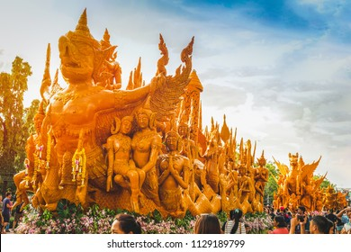 Candle Festival UBON RATCHATHANI, THAILAND - July 15: Many people visit the annual candle parade in Ubon Ratchathani on July 15, 2017, Ubonratchathani, Thailand.