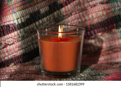 Candle flame in a glass beaker
