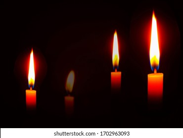 Candle flame at night. Lighting design for background, candle lit in a dark room with dark background