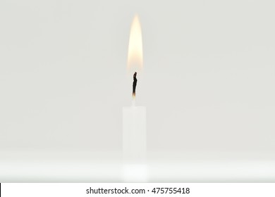 Candle flame on white background.