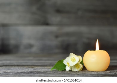 Candle and flower. Condolence card