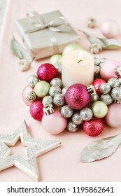 Candle holder made of glass balls. Beautiful table decoration for Christmas and carnival.