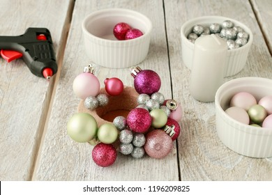 Candle holder made of glass balls. Beautiful table decoration for Christmas and carnival. How to make, step by step, tutorial.