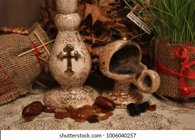 "Candle and incense holder for traditional orthodox ritual. (the note says: ""Christ is born"")"