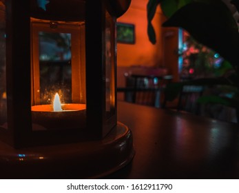 candle lantern in a restaurant