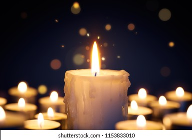 Candle light with sparkling light burst effect